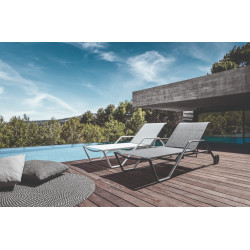 Gloster 180 Stacking Sun Lounger with Arms Meteor Granite
