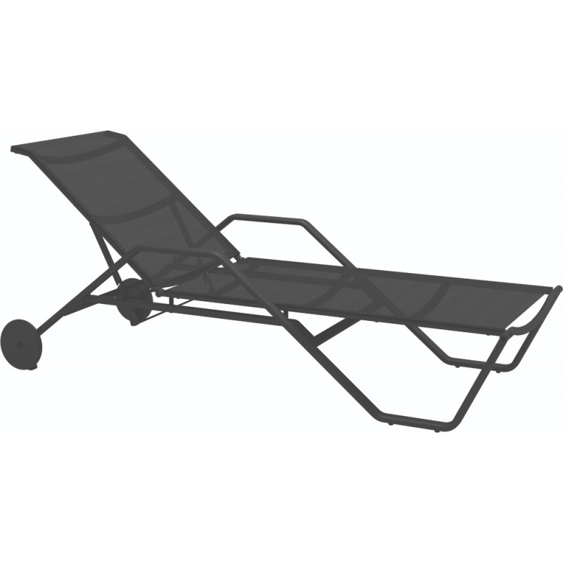 Gloster 180 Stacking Sun Lounger with Arms Meteor Anthracite