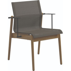 Gloster Sway Teak Stacking Dining Chair with Arms
