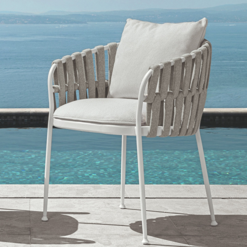 Talenti Frame Dining Armchair White Silver