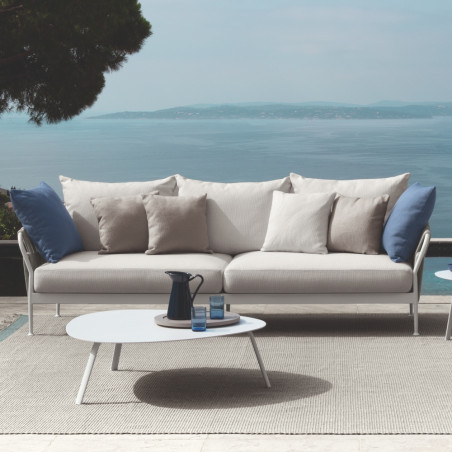 Talenti Frame 3 Seater Sofa White Silver