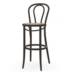 Ton Counter Stool 18 in Stained Bent Wood with Cane Seat