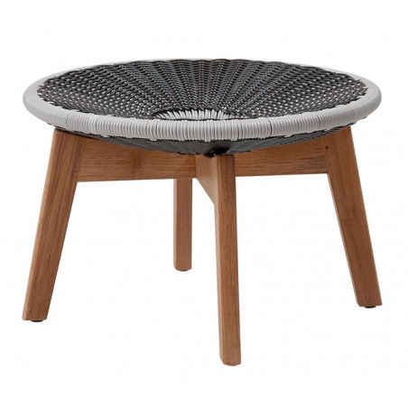 Cane-Line Peacock Foot Stool / Coffee Table | Cane-Line Weave Grey