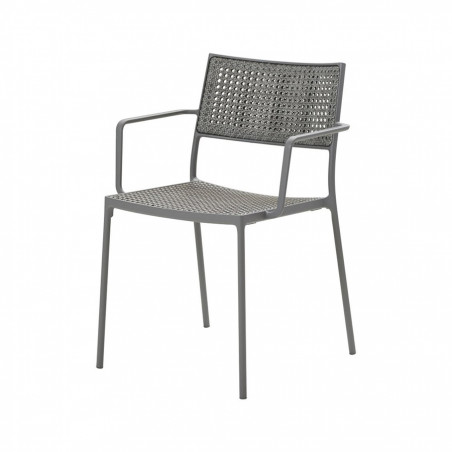 Cane-Line Less Stackable Aluminium/French Weave Armchair - Light Grey