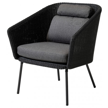 Cane-Line Mega Weave Dining Chair - Graphite, Incl. Grey Cushion Set