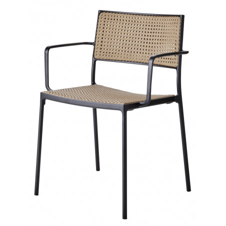 Cane-Line Less Stackable Aluminium/French Weave Armchair - Natural
