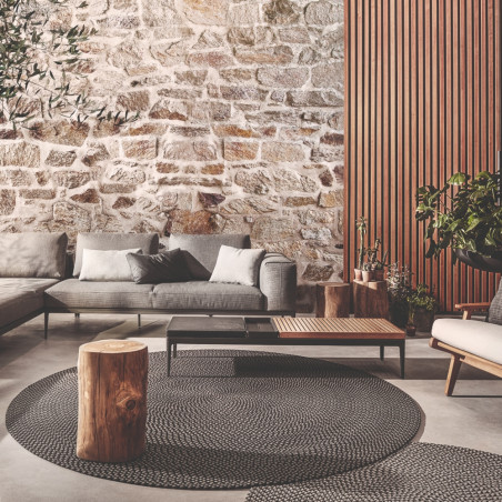 Gloster Outdoor Rug Round Graphite Ombre
