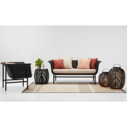 Vincent Sheppard Black Wicked Lounge Chair Almond