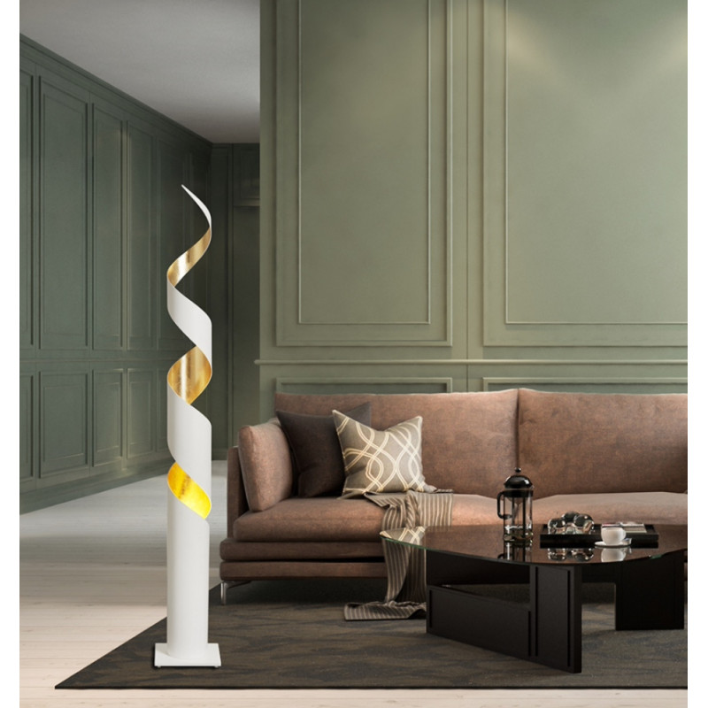 Gibas Remi Steel Floor Lamp | Silver and Gold Foil