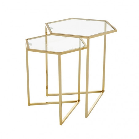 Set Of 2 Gold Finish Side Tables