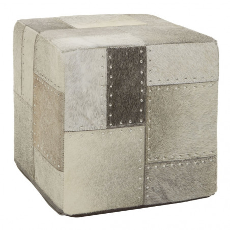 Patchwork Hand Crafted Pouf Grey