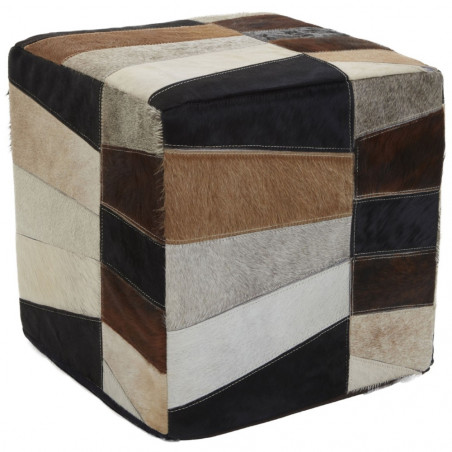Patchwork Hand Crafted Pouf Brown