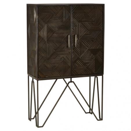 Dark Wood Cabinet with Metal Base