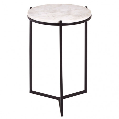 Carrara Marble Side Table with Black Base