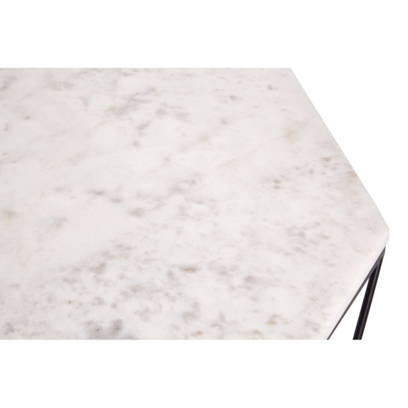 Carrara Marble Coffee Table with Black Base