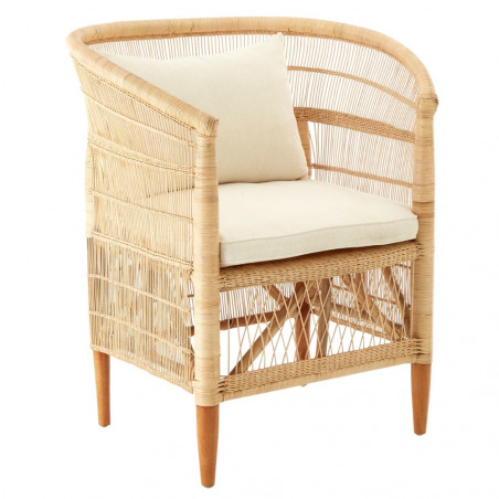 Natural Rattan Chair with Seat Cushion and Back Cushion