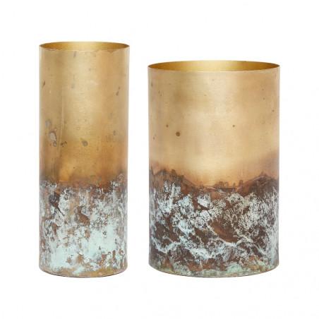 Hubsch Metal Vases Antique Gold | Set of 2