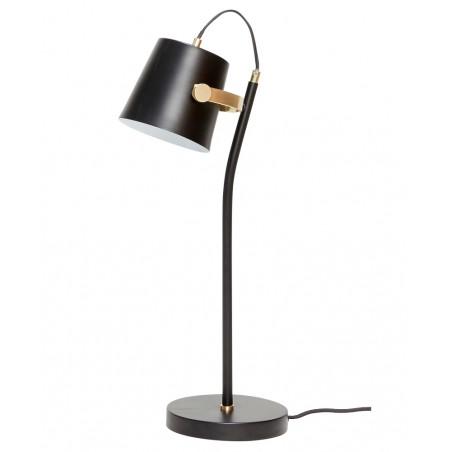 Hubsch Black Metal Desk Lamp with Brass detail