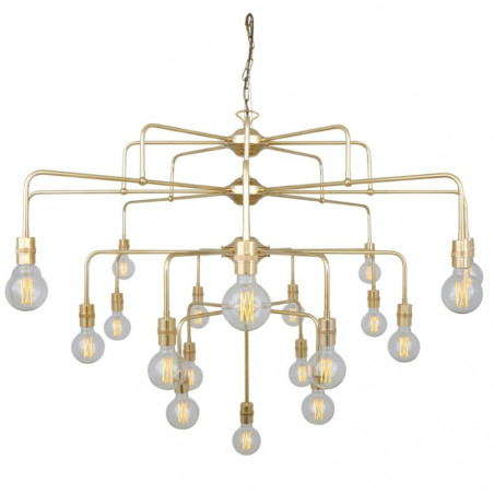 Mullan Lighting Pisa Four-Tier Bare Bulb Brass Chandelier, 21-Light