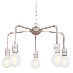 Mullan Lighting Pisa Single Tier Bare Bulb Brass Chandelier 5-Light