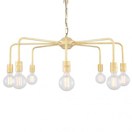 Mullan Lighting Pisa Single Tier Bare Bulb Brass Chandelier 8-Light