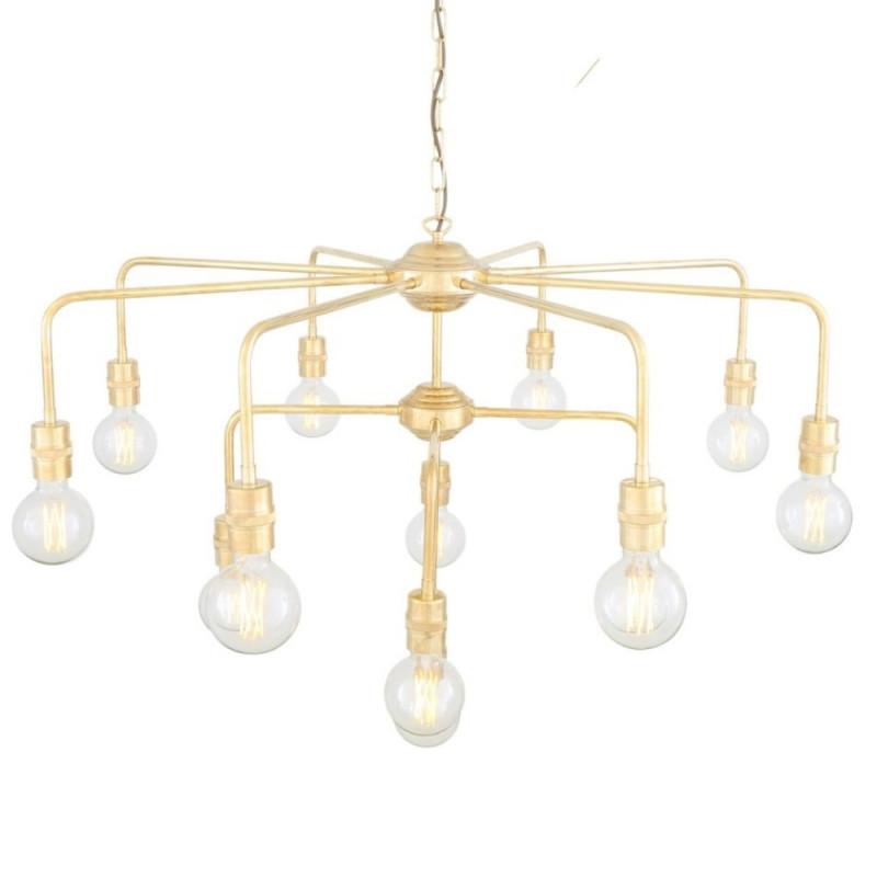 Mullan Lighting Pisa Three-Tier Bare Bulb Brass Chandelier, 13-Light