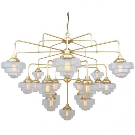 Mullan Lighting Siena Art Deco Four-Tier Brass Chandelier, 21-Light