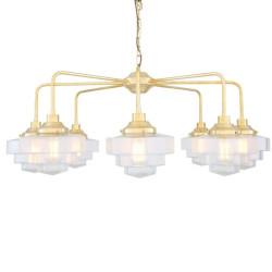 Mullan Lighting Siena Art Deco Single Tier Brass Chandelier 8-Light