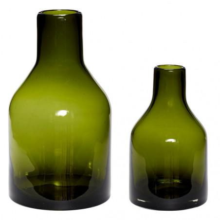 Hubsch Glass Vase Set of 2 - Green