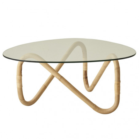 Cane-Line Wave Coffee Table Large Rattan Glass