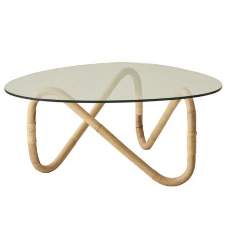 Cane-Line Wave Coffee Table Rattan Glass