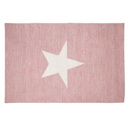 Pink and White Star Rug