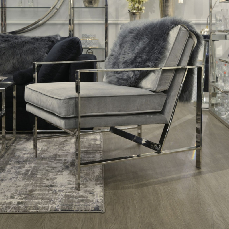 Caverly Grey Velvet Chrome Frame Occasional Chair