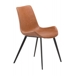 Dan-Form Hype Brown Leather Dining Chair with Black Legs