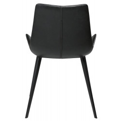 Dan-Form Hype Black Leather Dining Chair with Black Legs