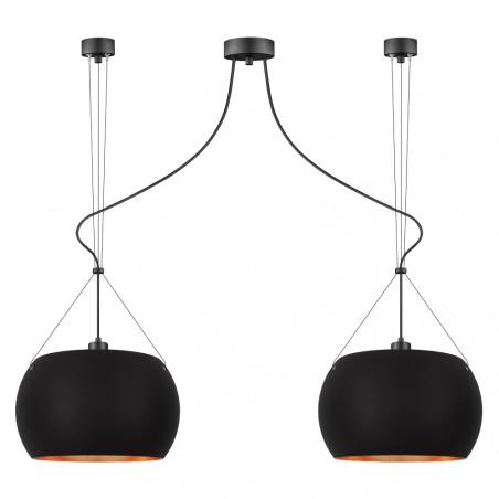 Sotto Luce Momo 2/S Pendant Light - Matte Black Copper Leaves/Black/Black