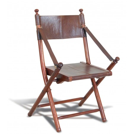 Colonial Leather and Teak Chair