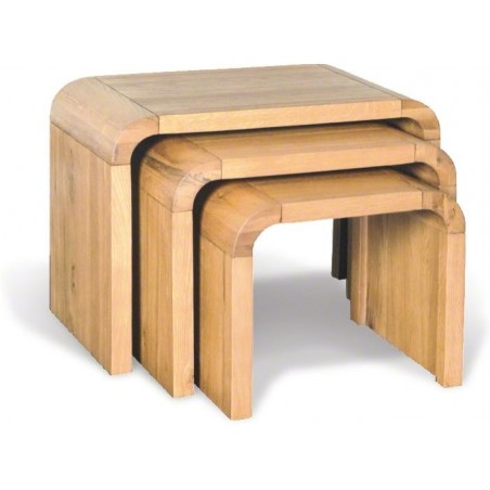 Nest of 3 Solid Natural Oak Tables