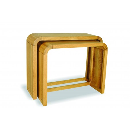 Nest of 2 Mid-Century Oak Console Tables