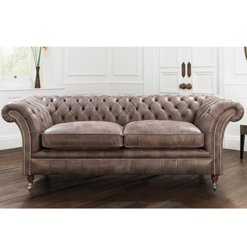 Falmouth Chesterfield Sofa in Elite Leather - Brown