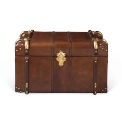 Small Havana Leather Travelling Trunk