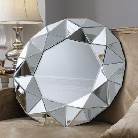 """Toledo Crystalline 28"""" Round Designer Mirror 28"""""""