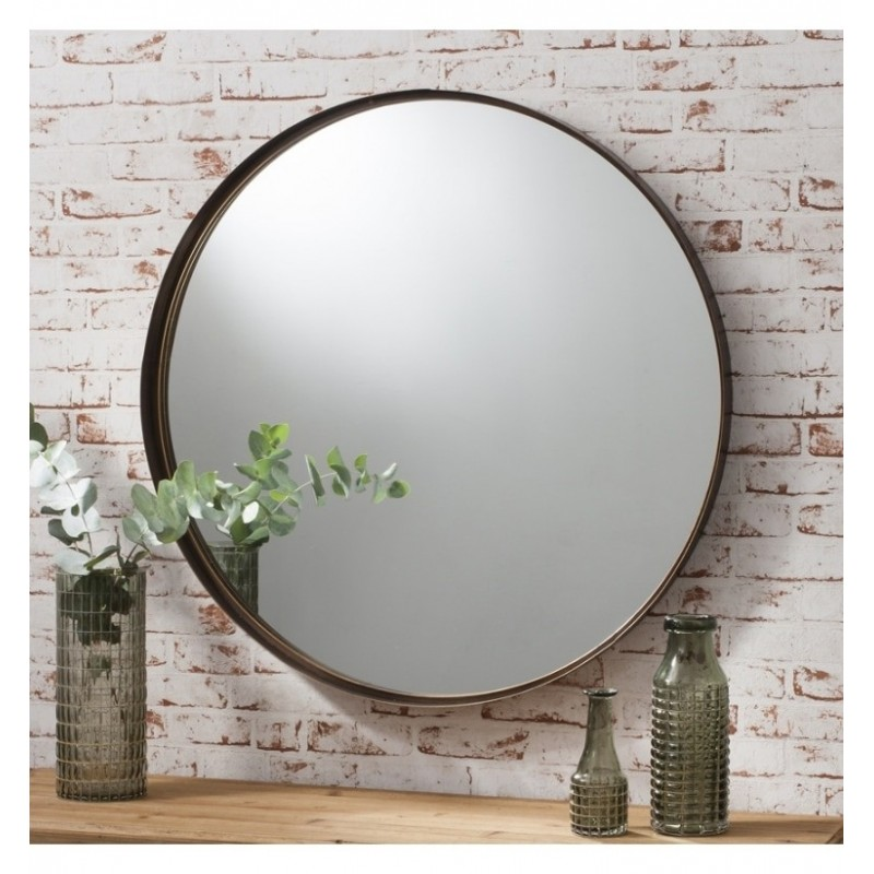 Finesse Contemporary Slender Circular Bronze Mirror 33\""