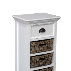 Halifax Painted Medium Storage Unit With 3 Rattan Baskets