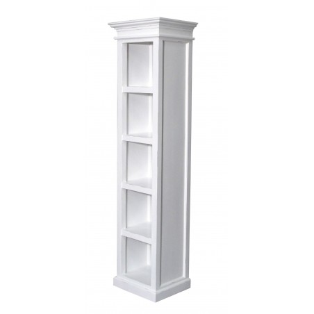 Halifax White Painted Mahogany Tall Narrow Bookcase With Drawer