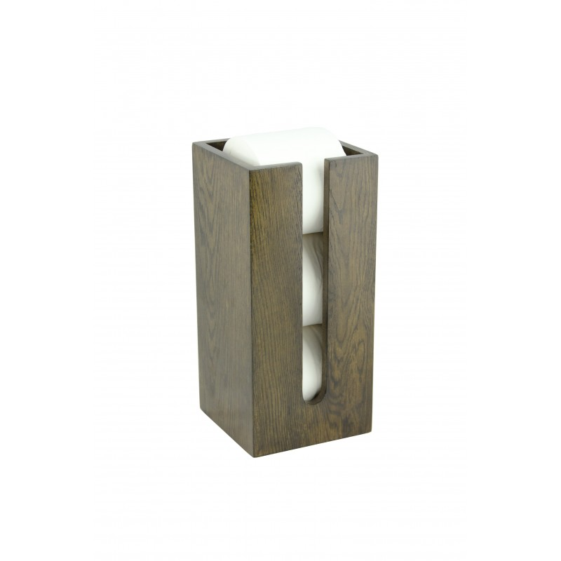 Wireworks Contemporary Dark Oak Toilet Roll Holder Box Mezza