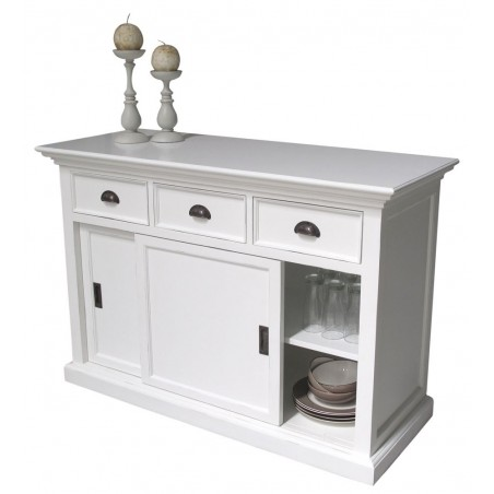 Halifax White Painted Mahogany Buffet With 2 Sliding Doors