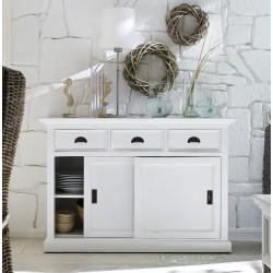 Halifax White Painted Mahogany Buffet With 2 Sliding Doors