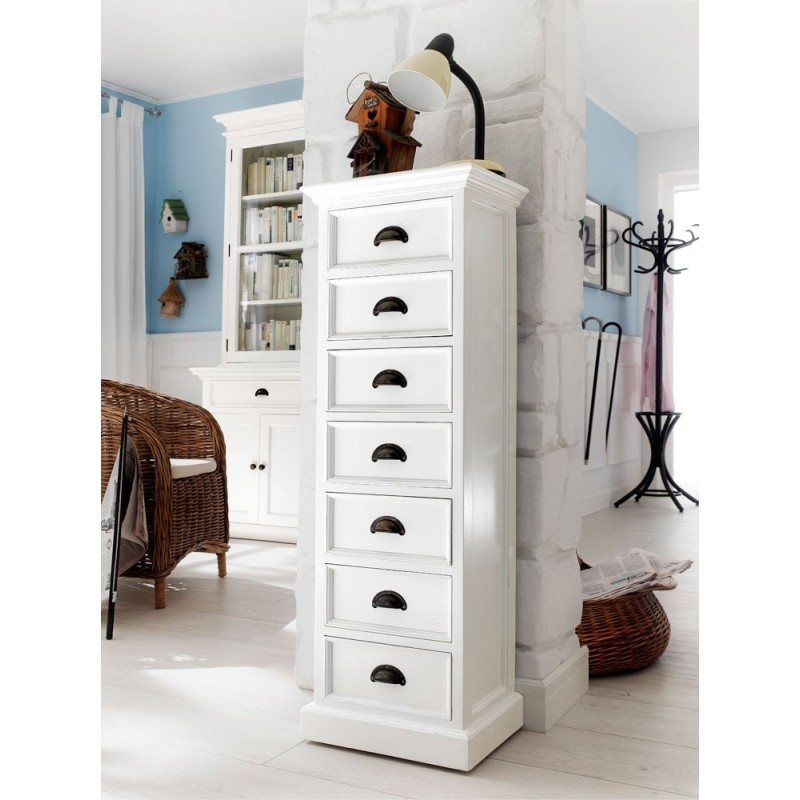 Halifax White Painted Mahogany 7 Drawer Tallboy