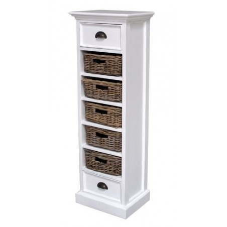 Halifax White Painted Mahogany Wellington With 5 Rattan Baskets